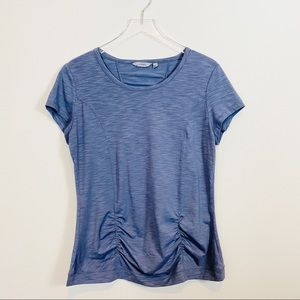 ATHLETA | Gray Ruched Short Sleeve Athletic Tee